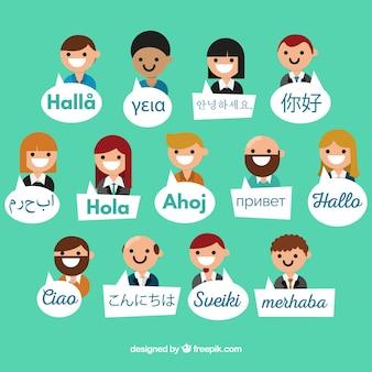 Platte mensen met woorden in verschillende talen
