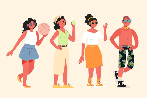 Platte mensen met zomerkleding collectie