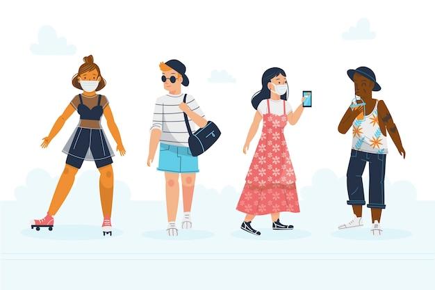 Platte mensen met zomerkleding inpakken