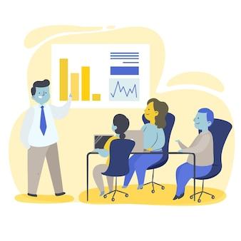 Platte mensen op zakelijke training