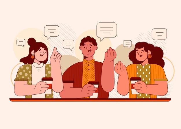 Platte mensen praten illustratie
