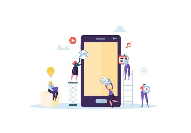 Platte mensen tekens mobiele applicatie bouwen met pictogrammen op het scherm van de smartphone