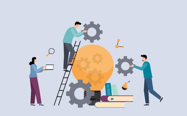 Platte mensen uit het bedrijfsleven ontmoeten leren en idee zoeken met gloeilamp concept