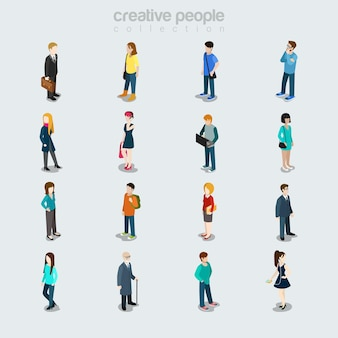 Platte mensen verschillen per baan, geslacht, leeftijd en stijl. geïsoleerde pictogrammen. society leden verscheidenheid concept. zakenman, student, jonge schoonheden, oudje, vrijetijdskleding.