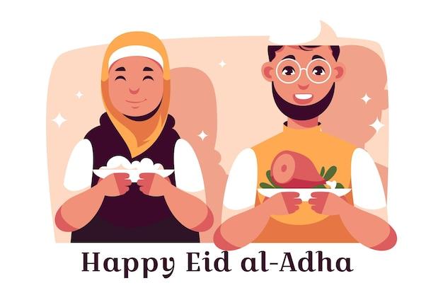 Platte mensen vieren eid al-adha illustratie