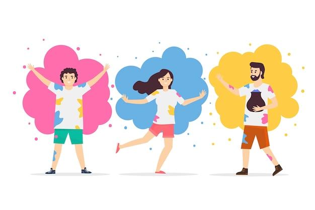 Platte mensen vieren holi-festival
