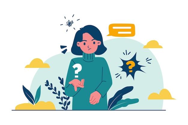 Platte mensen vragen illustratie