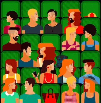 Platte mensen zitten in de bioscoop en kijken naar een film vectorillustratie