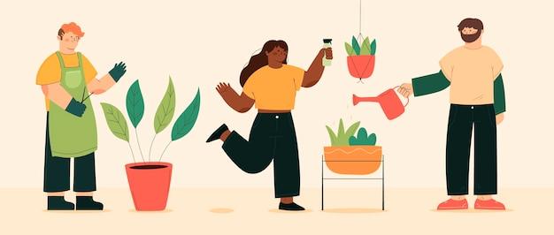 Platte mensengroep die voor planten zorgt