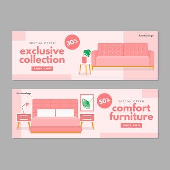 Platte meubels verkoop banner Gratis Vector