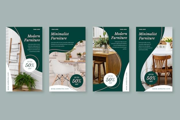 Platte meubels verkoop instagram verhaalcollectie Gratis Vector