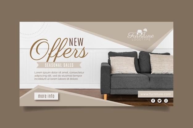 Platte meubelverkoop banner met foto Gratis Vector