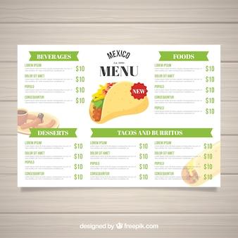 Platte mexicaanse voedsel menusjabloon
