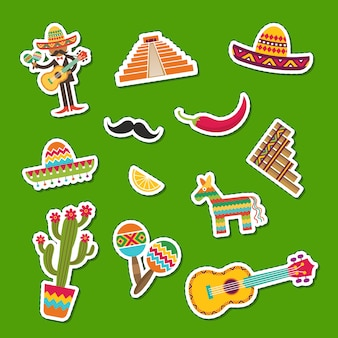 Platte mexico attributen sticker set illustratie