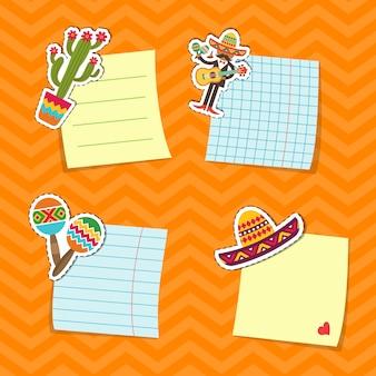 Platte mexico attributen stickers set illustratie