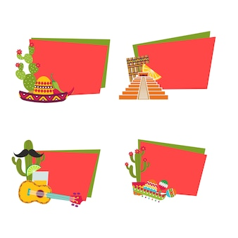 Platte mexico stickers met copyspace