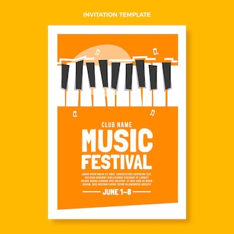 Platte minimale muziekfestivaluitnodiging