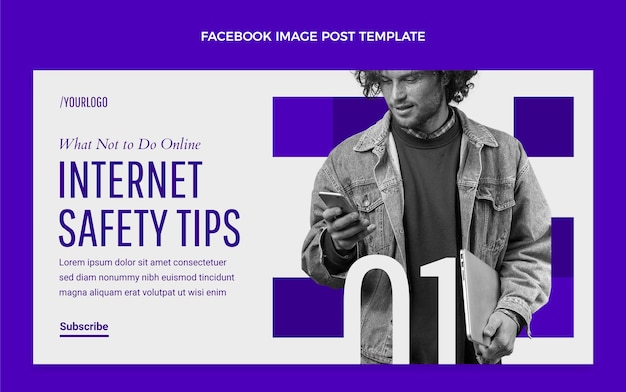 Platte minimale technologie facebook-bericht