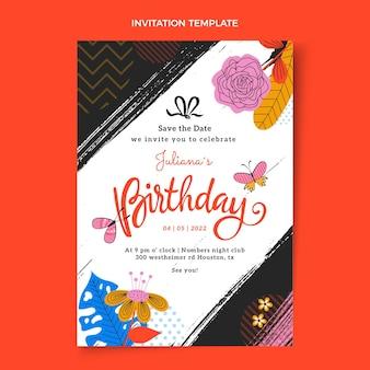 Platte minimale verjaardagsuitnodiging
