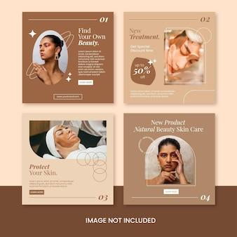 Platte minimalistische schoonheid huidverzorging promotie instagram post bundel sjabloon vector