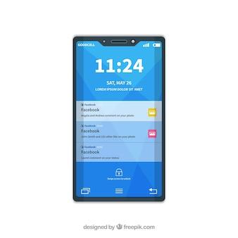 Platte mobiel met facebookmeldingen