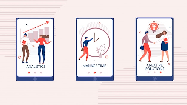 Platte mobiele applicatieset voor opstarten van bedrijven