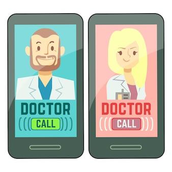 Platte mobiele arts, gepersonaliseerde geneeskunde mannelijke en vrouwelijke adviseur op smartphone