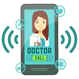Platte mobiele dokter, gepersonaliseerde geneeskundeconsulent op smartphonescherm
