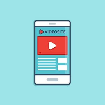 Platte mobiele gebruikersinterface met gebruikersinterfaceontwerp voor videotoepassingen