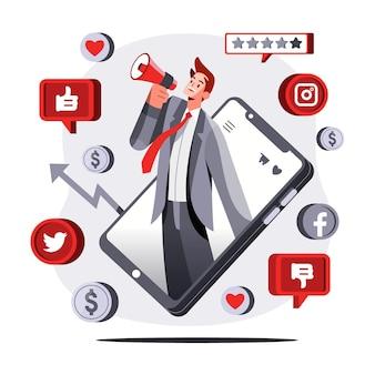 Platte mobiele marketing concept illustratie
