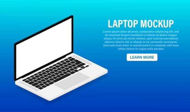 Platte mock-up laptop voor websiteontwerp