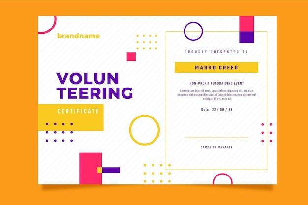 Platte moderne certificaatsjabloon voor vrijwilligerswerk