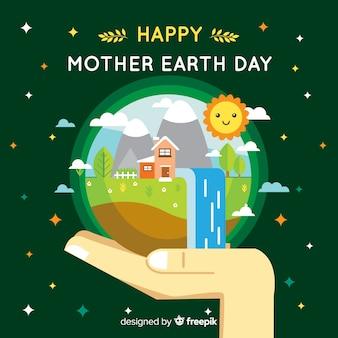 Platte moeder aarde dag achtergrond