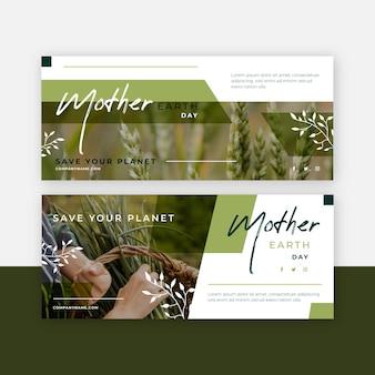 Platte moeder aarde dag banner set met foto