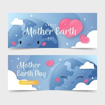 Platte moeder aarde dag banner set