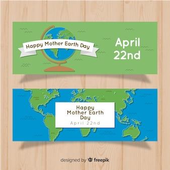 Platte moeder aarde dag banner