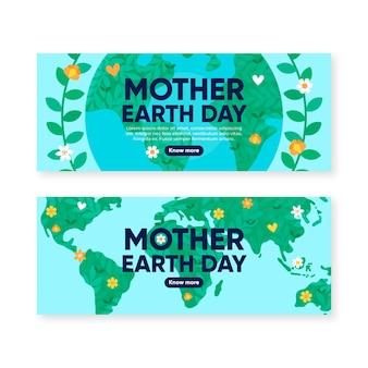 Platte moeder aarde dag banners collectie