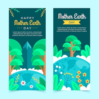 Platte moeder aarde dag banners