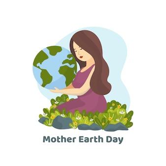 Platte moeder aarde dag behang