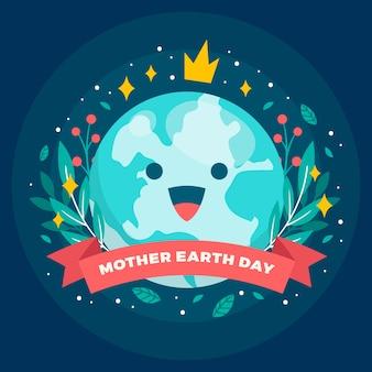 Platte moeder aarde dag illustratie concept