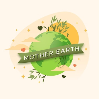 Platte moeder aarde dag illustratie