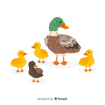 Platte moeder eend en kuikens hand getrokken