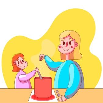 Platte moeder en dochter koken