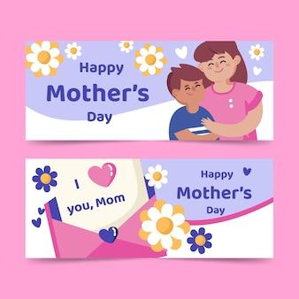 Platte moederdag banners instellen