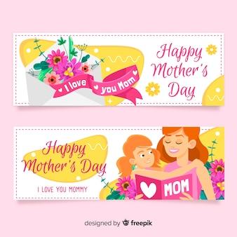 Platte moederdag banners