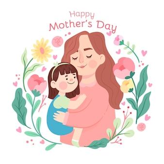 Platte moederdag illustratie
