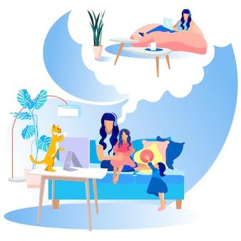 Platte moederschap cartoon dromen van vermoeide moeder