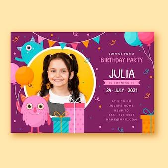 Platte monster verjaardag uitnodiging sjabloon met foto