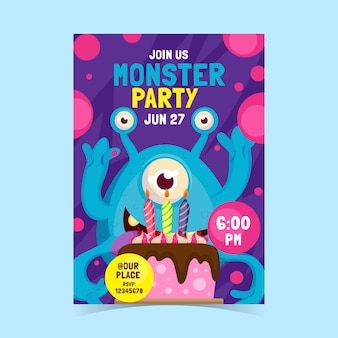 Platte monster verjaardag uitnodiging sjabloon