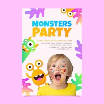 Platte monster verjaardagsuitnodiging met foto